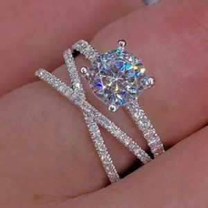 *NEW 925 Sterling Silver Diamond Infinity Ring A